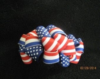 Patriotic Loopy Bow, French Barrette.