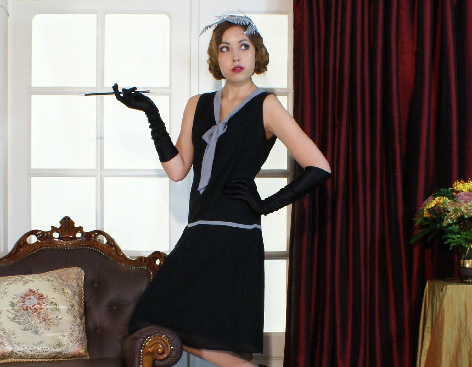 Little black flapper dress with a grey bow Great Gatsby