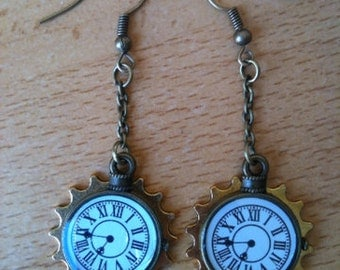 Little pocket watch earrings