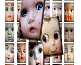 Vintage Doll Faces Creepy Cute Baby Antique Digital Images Collage Sheet 1x2 inch Rectangles Domino Commercial INSTANT Download RD55
