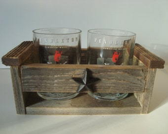 Pendleton Whiskey glass tumblers with recycled wood box!