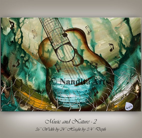 Abstract guitar painting original modern music art on sale for Modern artwork for home