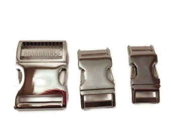 Dog Collar Buckle and Slide Upgrade Nickel size small