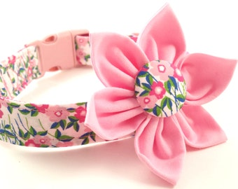Dog Collar and Flower Set, Pink,Wildflower, Adjustable Sizes for small, medium, large and Extra Large dogs