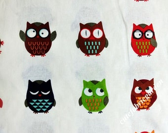 Cotton Linen Fabric - 1 Meter Cute Owl Fabric - The Owl Print - Owl Fabric - White(W140cm)