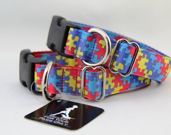 "Autism Awareness dog collar in 1"" wide pattern."