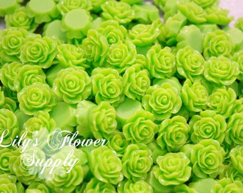 Lime Green Resin Rose Button - Rose Center Piece - Flatback Button - Resin Rose- Pearl Button - Wholesale - You pick colors - 10 Pieces