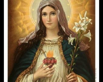 "8x10"" Cotton Canvas Print, Sacred Heart of Mary, Religion, Virgin, Maddona"