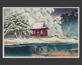 "8x10"" Silk Canvas Print, Vintage Asian Art, Japan, Snowy Winterscape"