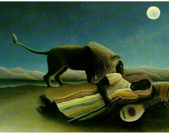 "Sleeping Gypsy, 1897, Henri Rousseau, Woman, Lion, Mandolin. 8x10"" Cotton Canvas Print"