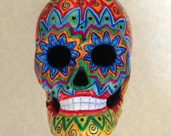Hand-painted Paper-mache Skull