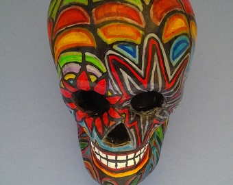 """Hand-painted Paper-mache Day Of The Dead skull 6-1/4"""" L x 4-3/4"""" H x 4"""" W"""