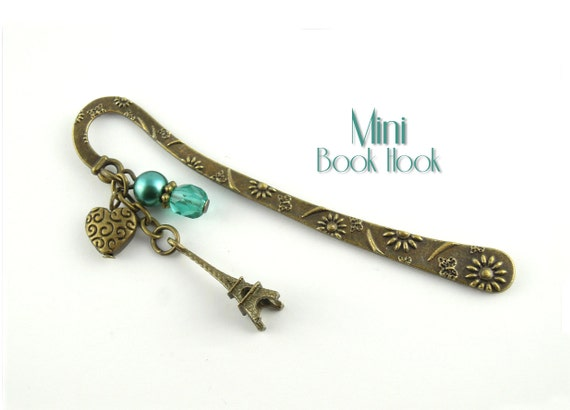 Paris Metal Bookmark - Eiffel Tower, Heart & Teal Beads - Mini Book Hook in Antique Bronze