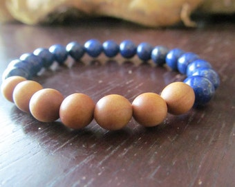 Blue Lapis Lazuli and Sandalwood Bracelet, Womens or Mens Bracelet, Beaded, Stretch, Stacking Gemstone Bracelet, Yoga Bracelet, Yoga Jewelry