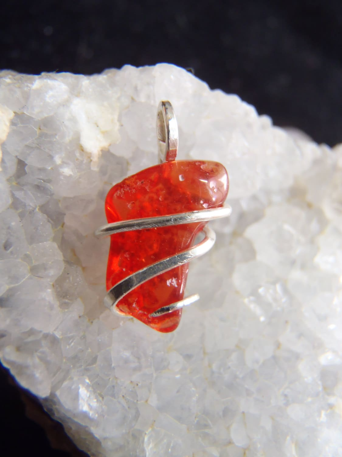Red Mexican Fire Opal Crystal Mini Pendant Necklace Sterling