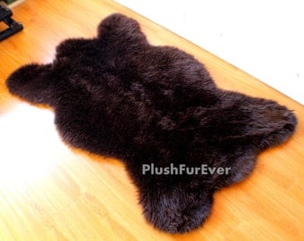 brown black white premium faux fur shaggy brown bearskin rug modern rug - Bearskin Rug