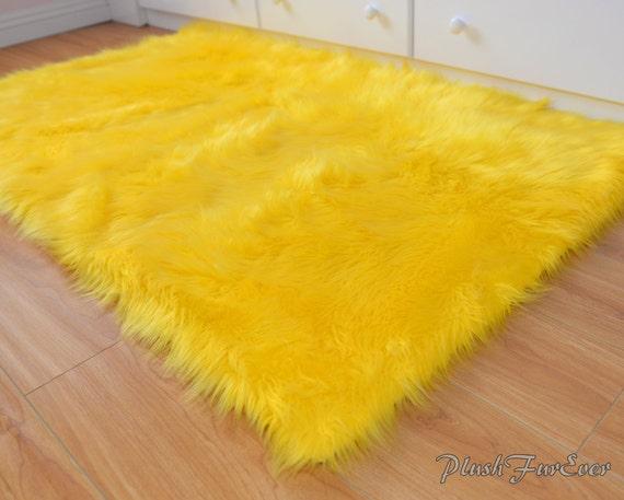 Sunshine Yellow Bright Faux Fur Throw Rug Beautiful Boy