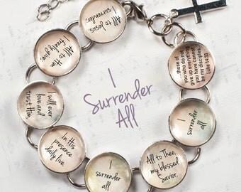 """I Surrender All Hymn & Scripture Glass Charm Bracelet, 6.75""""-8.75"""""""
