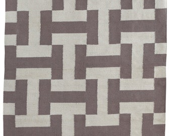 Fab Habitat Indoor Cotton Rug- Canal - Ash & White