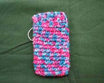 Crocheted Pink Blue Purple Cell Phone Cozy