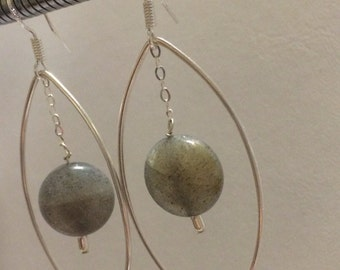 Sterling Silver Labradorite drop Earrings.