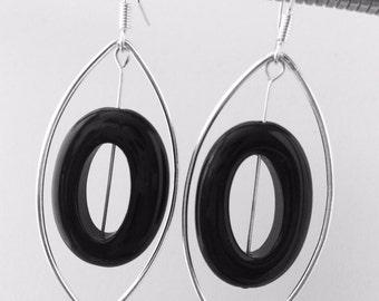 Sterling Silver Geo metric Onyx drop Earrings.