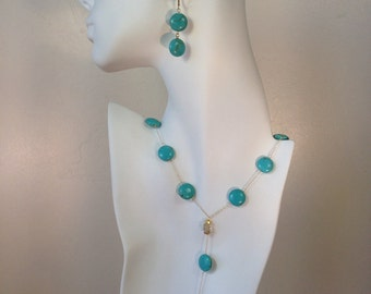 Turquoise necklace and earring set- sterling silver-statement jewelry, chunky turquoise