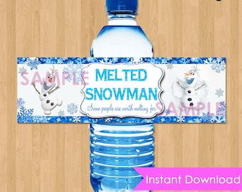"Disney Frozen Bottle Labels - INSTANT DOWNLOAD 2.5x8""  Melted Snowman Frozen Water Bottle Labels - Birthday Party Printable match Invitation"
