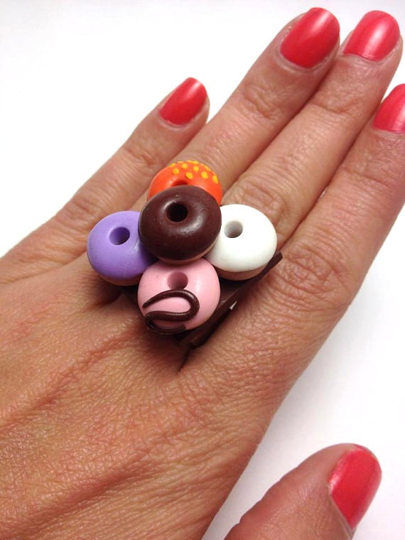 Mini Food Jewelry Cute Ring Adjustable Ring Miniature Food