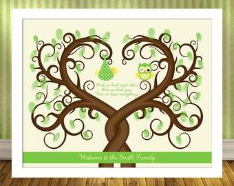 Baby shower fingerprint tree guest book alternative poster baby