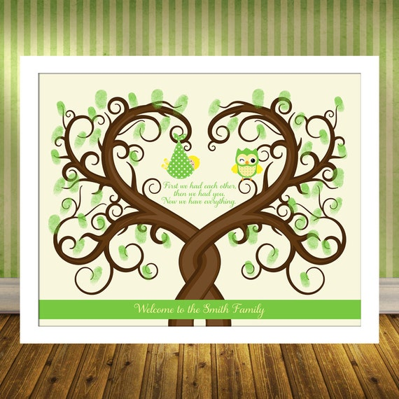 baby shower thumbprint tree print guest book alternative poster baby