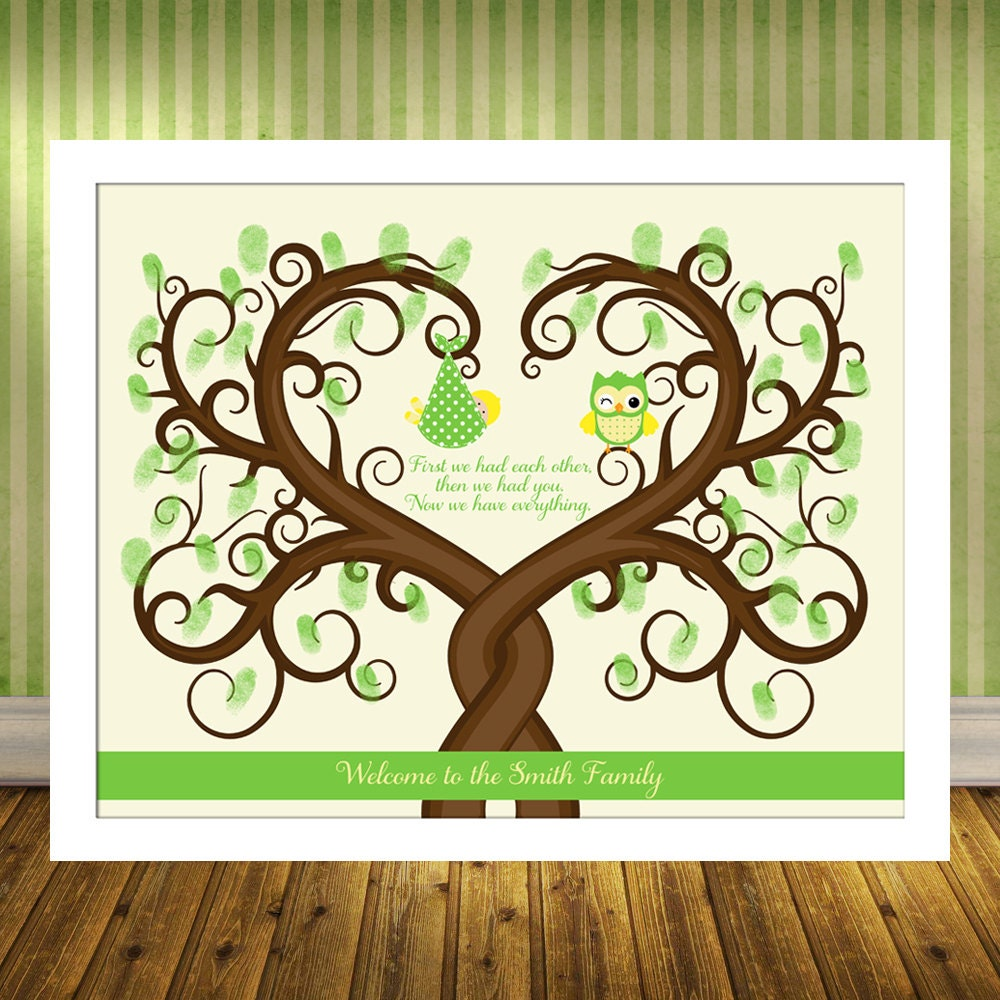 baby shower fingerprint tree guest book alternative poster