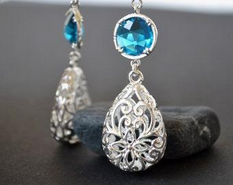 Blue bridesmaid Earrings, blue Drop Earrings, silver dangle earrings, boho drop earrings,filigree Earrings blue bridesmaid wedding jewelry