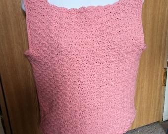 Breathable handmade tank top (pink medium), tops and tees, summer tops, crochet tanks