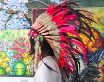 The Original - Real Feather Red Chief Indian Inspired Headdress 75cm, Native American Style Costume Hand Made War Bonnet Hat