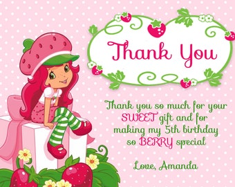 Strawberry Shortcake Birthday Thank You Card - Digital File
