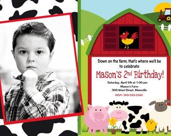 Farm Barn Yard Animal Birthday Party Invitation - Digital File
