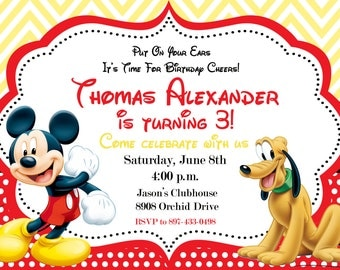 Mickey Mouse Birthday Party Invitation - Printable or Printed