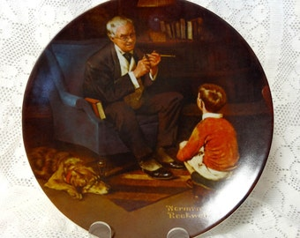 Norman Rockwell Wall Plate The Tycoon Heritage Collection E Knowles 1982 Vtg