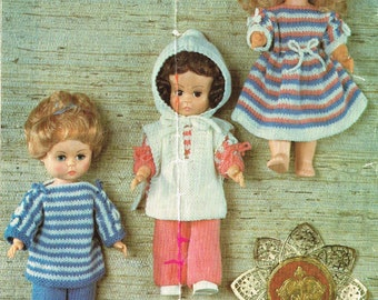 "Dolls clothes knitting pattern for  14""  doll. PDF Instant download."