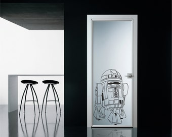 Scifi art inspired by Star Wars R2D2 robot vinyl wall decal
