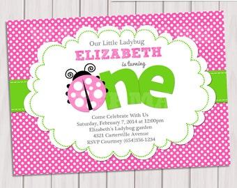 Pink Green Ladybug Invitation / Ladybug Invite / Ladybug Invitation / 1st Birthday Ladybug Invitation