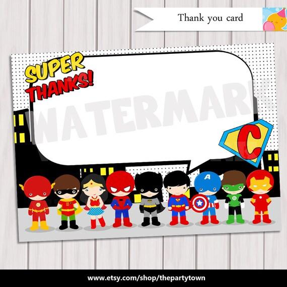 Pop Art SuperHero Thank you / Note Card Super Hero Birthday Party / Comics Pop art Personalized ...