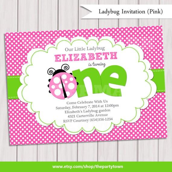 Pink Green Ladybug Invitation / Ladybug Invite / Ladybug