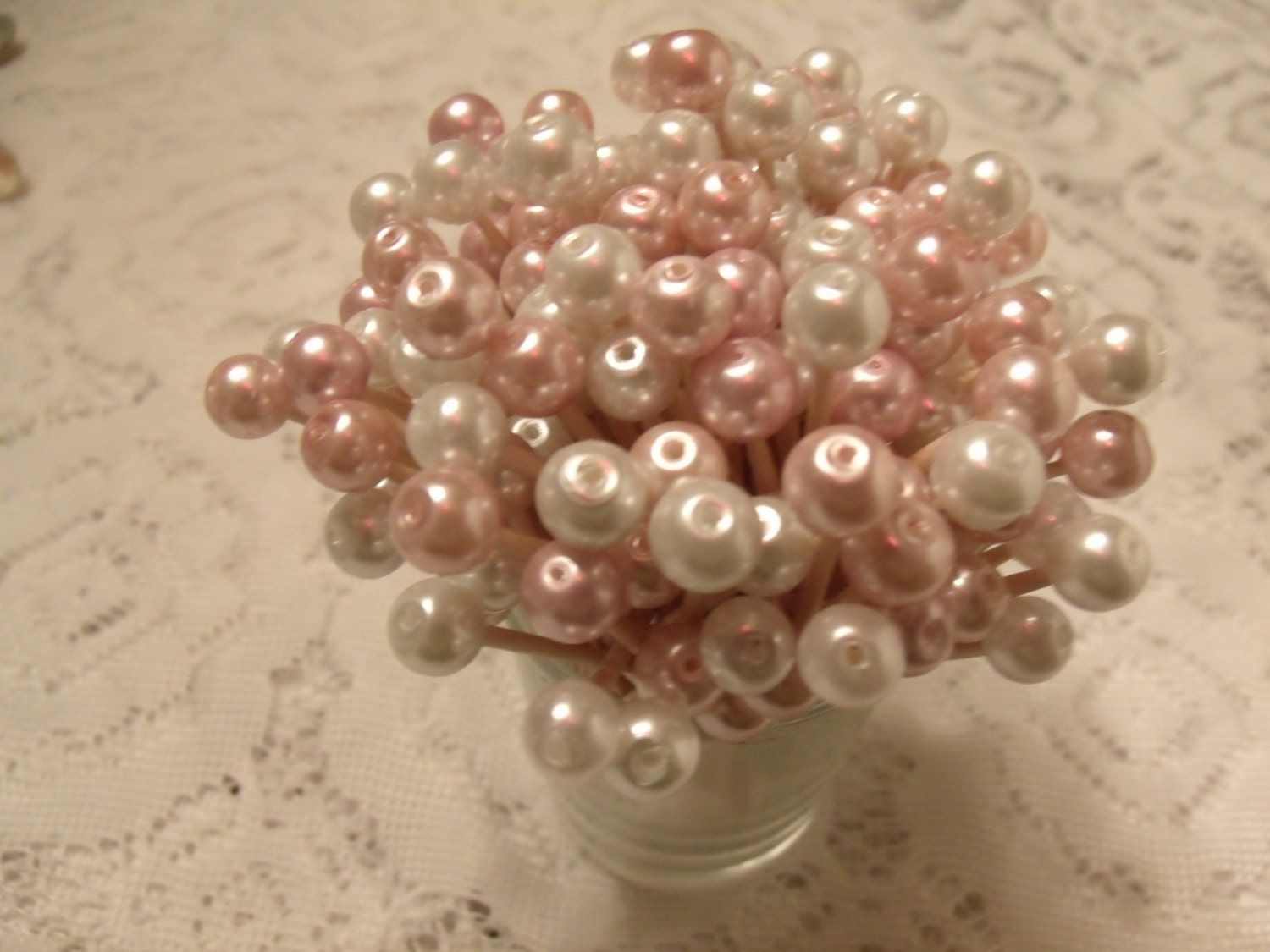 CHOOSE COLOR & White Pearl Toothpicks Wedding Easter