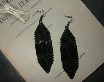"""Gorgeous """"Drawbridge""""  Black dangle handmade glass beaded earrings Art Deco Flapper Inspired"""