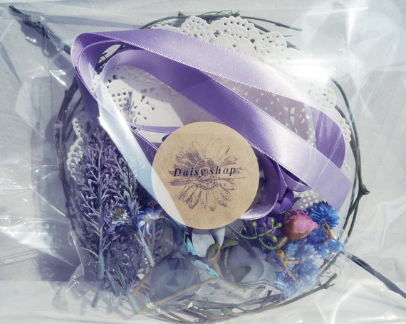 DIY KIT Violet Blue Skyblue Flower Crown Wedding Bridal