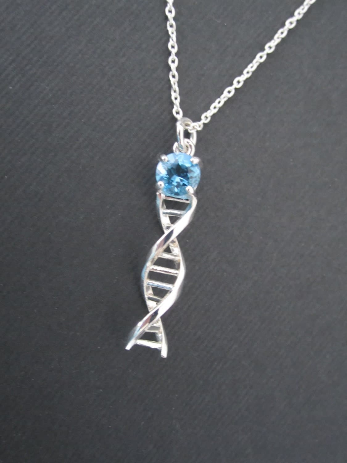 Dna Jewelry Necklace Pendant Sterling Silver Chain Birthstone