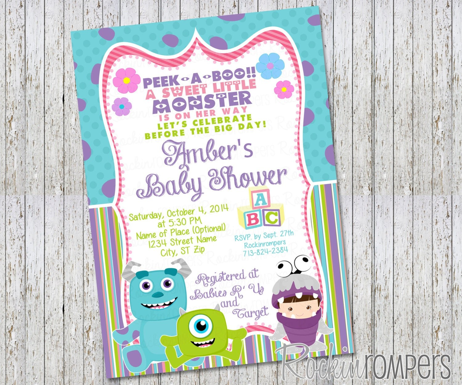 Monster Inc Baby Shower Invitations for your inspiration to make invitation template look beautiful
