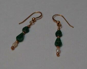 OOAK Aventurine &  Freshwater Pearl Earrings, Drops of Fancy, Gold Filled